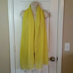 Fossil Yellow Crochet Floral Geometric Scarf
